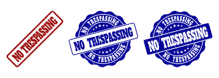 NO TRESPASSING grunge stamp seals in red and blue colors. Vector NO TRESPASSING watermarks with grunge style. Graphic elements are rounded rectangles, rosettes, circles and text titles.