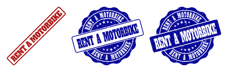 RENT A MOTORBIKE grunge stamp seals in red and blue colors. Vector RENT A MOTORBIKE watermarks with grunge style. Graphic elements are rounded rectangles, rosettes, circles and text titles.