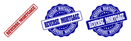 REVERSE MORTGAGE grunge stamp seals in red and blue colors. Vector REVERSE MORTGAGE signs with distress surface. Graphic elements are rounded rectangles, rosettes, circles and text tags.