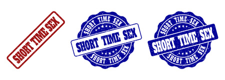 SHORT TIME SEX grunge stamp seals in red and blue colors. Vector SHORT TIME SEX imprints with grunge surface. Graphic elements are rounded rectangles, rosettes, circles and text captions.