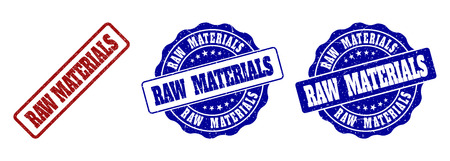 RAW MATERIALS scratched stamp seals in red and blue colors. Vector RAW MATERIALS overlays with scratced style. Graphic elements are rounded rectangles, rosettes, circles and text captions.