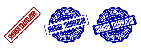 SPANISH TRANSLATOR grunge stamp seals in red and blue colors. Vector SPANISH TRANSLATOR marks with grunge style. Graphic elements are rounded rectangles, rosettes, circles and text captions. Stock Illustratie
