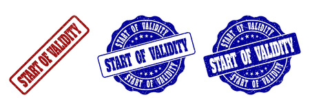 START OF VALIDITY grunge stamp seals in red and blue colors. Vector START OF VALIDITY imprints with grunge effect. Graphic elements are rounded rectangles, rosettes, circles and text labels.