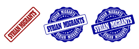 SYRIAN MIGRANTS grunge stamp seals in red and blue colors. Vector SYRIAN MIGRANTS imprints with grunge texture. Graphic elements are rounded rectangles, rosettes, circles and text labels.