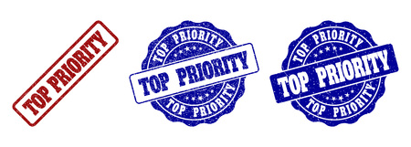 TOP PRIORITY scratched stamp seals in red and blue colors. Vector TOP PRIORITY labels with draft surface. Graphic elements are rounded rectangles, rosettes, circles and text labels.