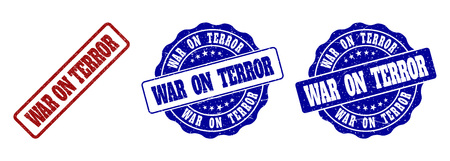 WAR ON TERROR grunge stamp seals in red and blue colors. Vector WAR ON TERROR labels with draft style. Graphic elements are rounded rectangles, rosettes, circles and text labels.