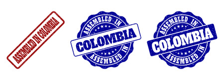 ASSEMBLED IN COLOMBIA grunge stamp seals in red and blue colors. Vector ASSEMBLED IN COLOMBIA overlays with grunge texture. Graphic elements are rounded rectangles, rosettes, circles and text labels. Ilustrace