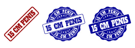 15 CM PENIS scratched stamp seals in red and blue colors. Vector 15 CM PENIS labels with grainy effect. Graphic elements are rounded rectangles, rosettes, circles and text labels.