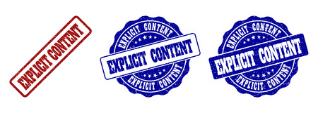 EXPLICIT CONTENT grunge stamp seals in red and blue colors. Vector EXPLICIT CONTENT labels with grunge style. Graphic elements are rounded rectangles, rosettes, circles and text captions. Illustration