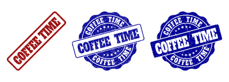 COFFEE TIME grunge stamp seals in red and blue colors. Vector COFFEE TIME watermarks with grunge surface. Graphic elements are rounded rectangles, rosettes, circles and text titles.