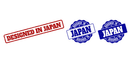 DESIGNED IN JAPAN grunge stamp seals in red and blue colors. Vector DESIGNED IN JAPAN imprints with grainy style. Graphic elements are rounded rectangles, rosettes, circles and text captions.