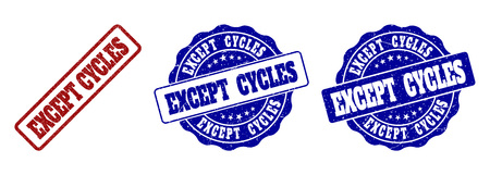 EXCEPT CYCLES grunge stamp seals in red and blue colors. Vector EXCEPT CYCLES marks with grunge surface. Graphic elements are rounded rectangles, rosettes, circles and text captions. Illusztráció