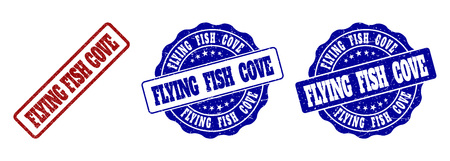 FLYING FISH COVE grunge stamp seals in red and blue colors. Vector FLYING FISH COVE labels with grunge texture. Graphic elements are rounded rectangles, rosettes, circles and text tags. Ilustração