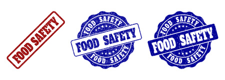 FOOD SAFETY scratched stamp seals in red and blue colors. Vector FOOD SAFETY labels with dirty texture. Graphic elements are rounded rectangles, rosettes, circles and text labels. Illustration