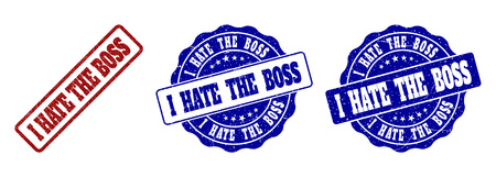 I HATE THE BOSS grunge stamp seals in red and blue colors. Vector I HATE THE BOSS labels with draft style. Graphic elements are rounded rectangles, rosettes, circles and text labels.