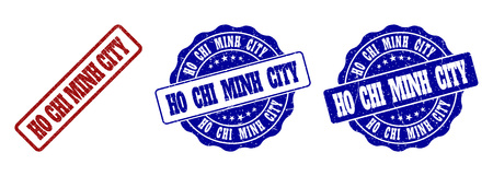 HO CHI MINH CITY scratched stamp seals in red and blue colors. Vector HO CHI MINH CITY imprints with grainy surface. Graphic elements are rounded rectangles, rosettes, circles and text captions.