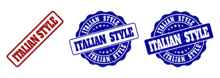 ITALIAN STYLE grunge stamp seals in red and blue colors. Vector ITALIAN STYLE labels with grunge effect. Graphic elements are rounded rectangles, rosettes, circles and text labels.
