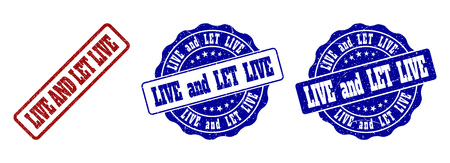 LIVE AND LET LIVE scratched stamp seals in red and blue colors. Vector LIVE AND LET LIVE marks with distress surface. Graphic elements are rounded rectangles, rosettes, circles and text tags.