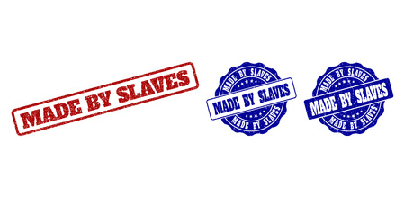 MADE BY SLAVES scratched stamp seals in red and blue colors. Vector MADE BY SLAVES labels with grunge texture. Graphic elements are rounded rectangles, rosettes, circles and text labels.