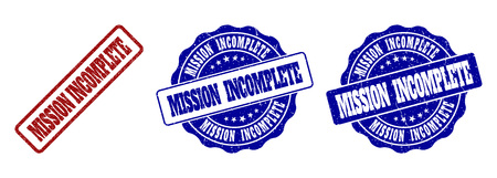 MISSION INCOMPLETE scratched stamp seals in red and blue colors. Vector MISSION INCOMPLETE labels with grunge texture. Graphic elements are rounded rectangles, rosettes, circles and text labels.