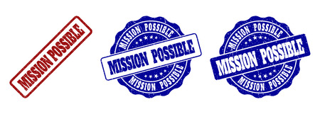 MISSION POSSIBLE grunge stamp seals in red and blue colors. Vector MISSION POSSIBLE imprints with grunge style. Graphic elements are rounded rectangles, rosettes, circles and text tags.