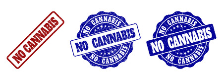 NO CANNABIS grunge stamp seals in red and blue colors. Vector NO CANNABIS marks with grunge effect. Graphic elements are rounded rectangles, rosettes, circles and text tags. Illustration