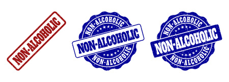 NON-ALCOHOLIC grunge stamp seals in red and blue colors. Vector NON-ALCOHOLIC labels with grunge surface. Graphic elements are rounded rectangles, rosettes, circles and text tags.