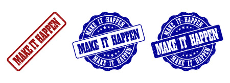 MAKE IT HAPPEN scratched stamp seals in red and blue colors. Vector MAKE IT HAPPEN labels with scratced texture. Graphic elements are rounded rectangles, rosettes, circles and text labels.