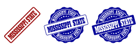 MISSISSIPPI STATE grunge stamp seals in red and blue colors. Vector MISSISSIPPI STATE labels with grunge texture. Graphic elements are rounded rectangles, rosettes, circles and text tags.