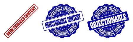 OBJECTIONABLE CONTENT grunge stamp seals in red and blue colors. Vector OBJECTIONABLE CONTENT signs with distress style. Graphic elements are rounded rectangles, rosettes, circles and text tags.