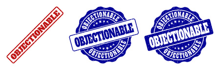 OBJECTIONABLE scratched stamp seals in red and blue colors. Vector OBJECTIONABLE labels with scratced surface. Graphic elements are rounded rectangles, rosettes, circles and text labels.