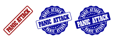 PANIC ATTACK grunge stamp seals in red and blue colors. Vector PANIC ATTACK imprints with grunge style. Graphic elements are rounded rectangles, rosettes, circles and text titles.