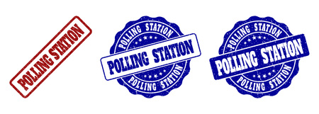 POLLING STATION grunge stamp seals in red and blue colors. Vector POLLING STATION labels with dirty texture. Graphic elements are rounded rectangles, rosettes, circles and text labels.