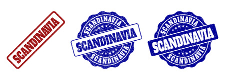SCANDINAVIA grunge stamp seals in red and blue colors. Vector SCANDINAVIA overlays with grunge effect. Graphic elements are rounded rectangles, rosettes, circles and text labels.