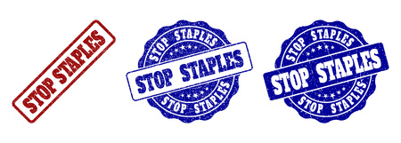 STOP STAPLES grunge stamp seals in red and blue colors. Vector STOP STAPLES marks with scratced style. Graphic elements are rounded rectangles, rosettes, circles and text titles.