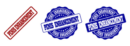 PENIS ENHANCEMENT grunge stamp seals in red and blue colors. Vector PENIS ENHANCEMENT signs with grunge texture. Graphic elements are rounded rectangles, rosettes, circles and text captions.