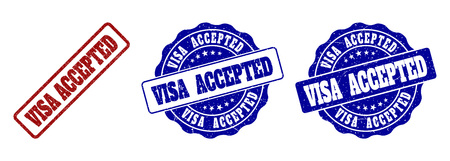 VISA ACCEPTED scratched stamp seals in red and blue colors. Vector VISA ACCEPTED overlays with draft texture. Graphic elements are rounded rectangles, rosettes, circles and text labels.