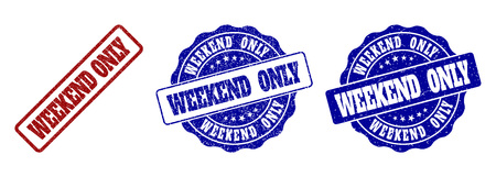 WEEKEND ONLY grunge stamp seals in red and blue colors. Vector WEEKEND ONLY overlays with grunge texture. Graphic elements are rounded rectangles, rosettes, circles and text labels.