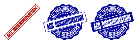 AGE DISCRIMINATION grunge stamp seals in red and blue colors. Vector AGE DISCRIMINATION imprints with grunge texture. Graphic elements are rounded rectangles, rosettes, circles and text captions.