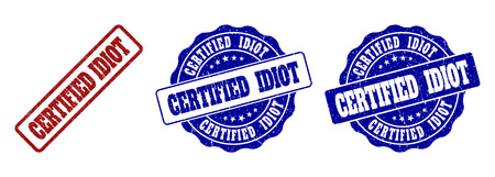 CERTIFIED IDIOT grunge stamp seals in red and blue colors. Vector CERTIFIED IDIOT watermarks with grunge texture. Graphic elements are rounded rectangles, rosettes, circles and text labels.