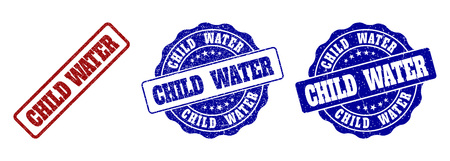 CHILD WATER grunge stamp seals in red and blue colors. Vector CHILD WATER imprints with grunge style. Graphic elements are rounded rectangles, rosettes, circles and text tags.