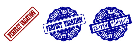 PERFECT VACATION grunge stamp seals in red and blue colors. Vector PERFECT VACATION labels with grunge style. Graphic elements are rounded rectangles, rosettes, circles and text titles.