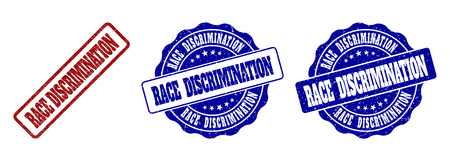 RACE DISCRIMINATION scratched stamp seals in red and blue colors. Vector RACE DISCRIMINATION watermarks with scratced style. Graphic elements are rounded rectangles, rosettes, Illustration