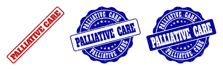 PALLIATIVE CARE grunge stamp seals in red and blue colors. Vector PALLIATIVE CARE marks with grunge surface. Graphic elements are rounded rectangles, rosettes, circles and text labels.