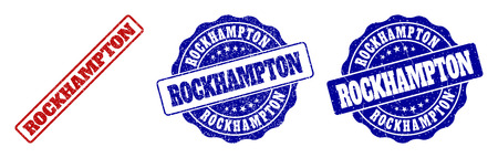 ROCKHAMPTON scratched stamp seals in red and blue colors. Vector ROCKHAMPTON watermarks with grunge effect. Graphic elements are rounded rectangles, rosettes, circles and text labels.