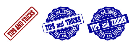 TIPS AND TRICKS grunge stamp seals in red and blue colors. Vector TIPS AND TRICKS labels with grunge style. Graphic elements are rounded rectangles, rosettes, circles and text tags.