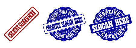 CREATIVE SLOGAN HERE grunge stamp seals in red and blue colors. Vector CREATIVE SLOGAN HERE overlays with grunge texture. Graphic elements are rounded rectangles, rosettes, circles and text titles. Illustration