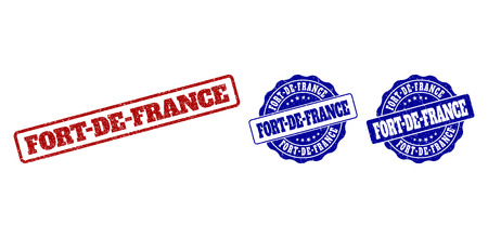 FORT-DE-FRANCE scratched stamp seals in red and blue colors. Vector FORT-DE-FRANCE labels with grunge surface. Graphic elements are rounded rectangles, rosettes, circles and text labels.