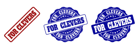 FOR CLEVERS scratched stamp seals in red and blue colors. Vector FOR CLEVERS labels with dirty style. Graphic elements are rounded rectangles, rosettes, circles and text labels.