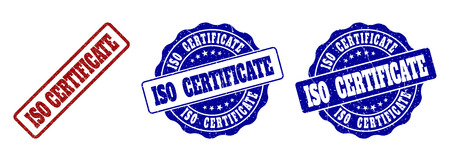 ISO CERTIFICATE grunge stamp seals in red and blue colors. Vector ISO CERTIFICATE signs with grunge surface. Graphic elements are rounded rectangles, rosettes, circles and text titles.